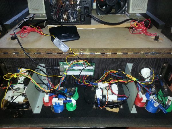 Photo of underneath the control panel showing button wiring